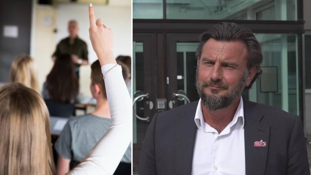 En delad bild där den till vänster föreställer några unga personer fotade bakifrån, varav en håller upp ett finger. Till en höger en skäggig man med kostym.