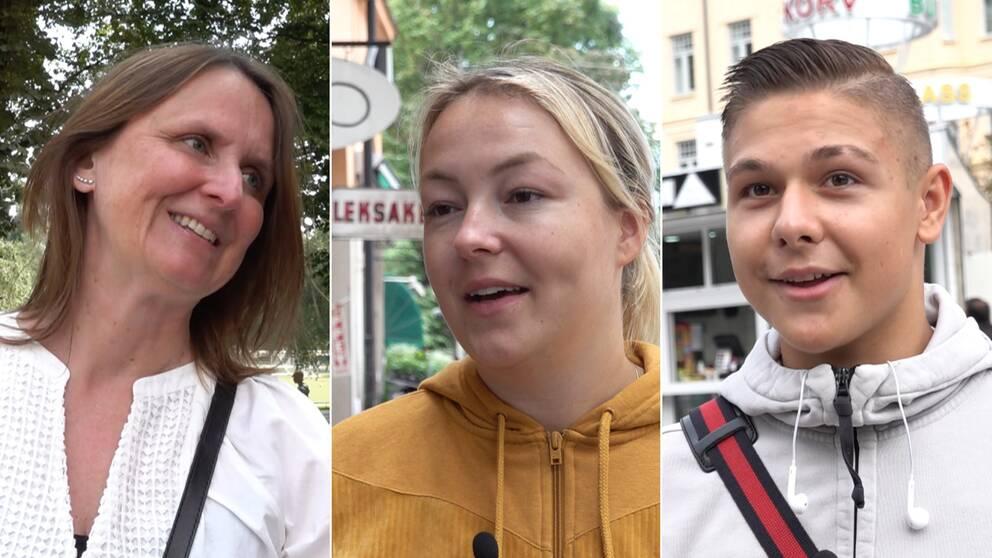 Tre halvbilder på de som medverkar i videon. Personen längst till vänster har en vit blus på sig. Personen i mitten en gul tjocktröja med dragkedja. Personen till höger har en vit huvtröja.
