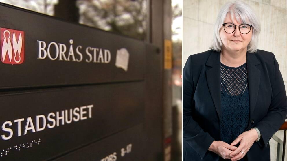 Skyltar över Borås stad och Annette Carlson (M)