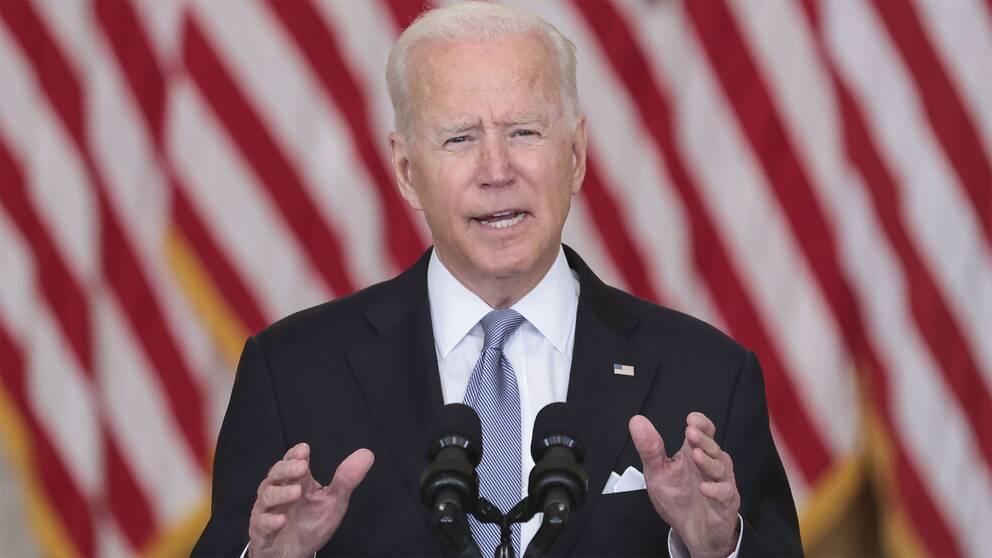 Joe Biden under sitt pressmeddelande angående amerikaner i Afghanistan.