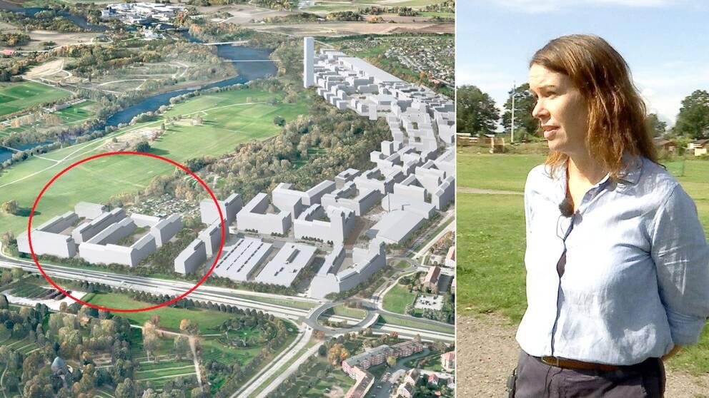 Skiss på det nya området, med platsen för odlingslotterna inringad och Malin Cuclair, projektledare för utvecklingen av Himmelstalund i Norrköping