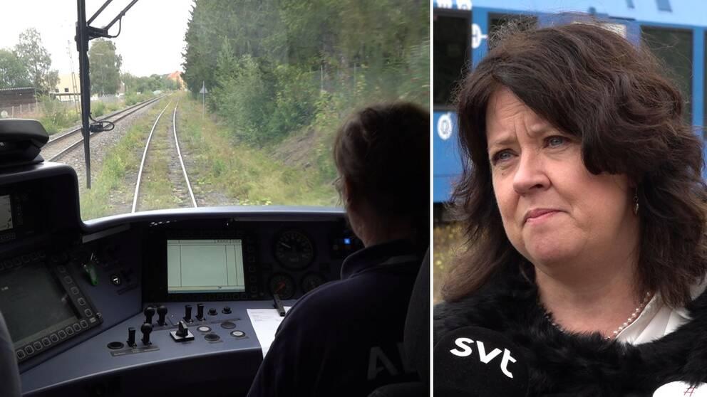 Delad bild. Till vänster bild inifrån förarhytten på ett tåg. Till höger Maria Cederberg med mörkt lockigt hår.