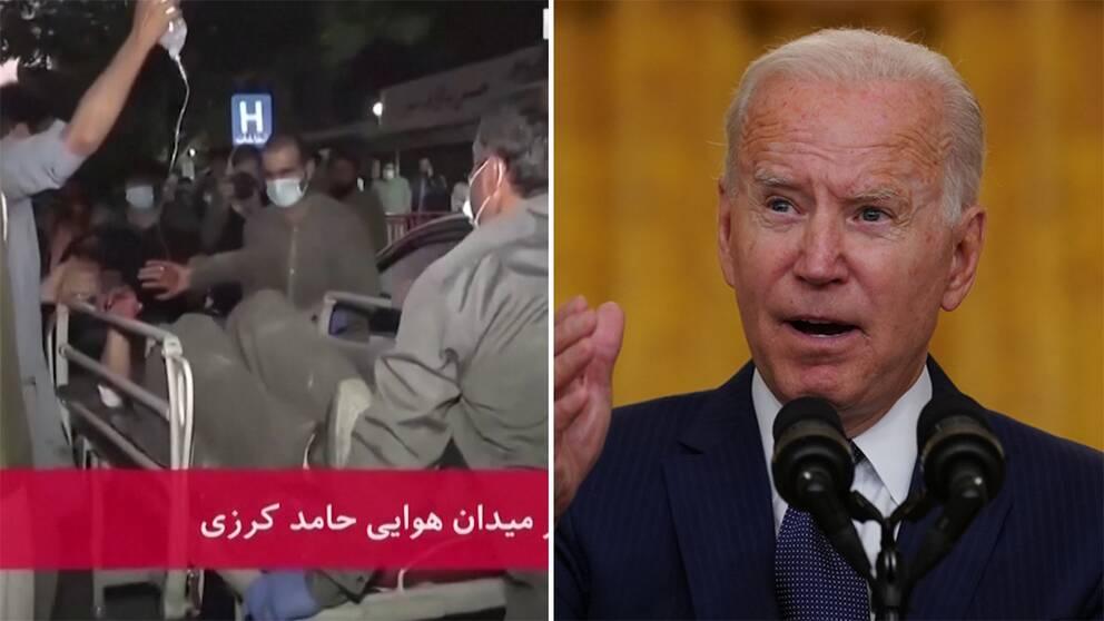 En person som skadats i bombningarna förs till sjukhus/Joe Biden under presskonferensen