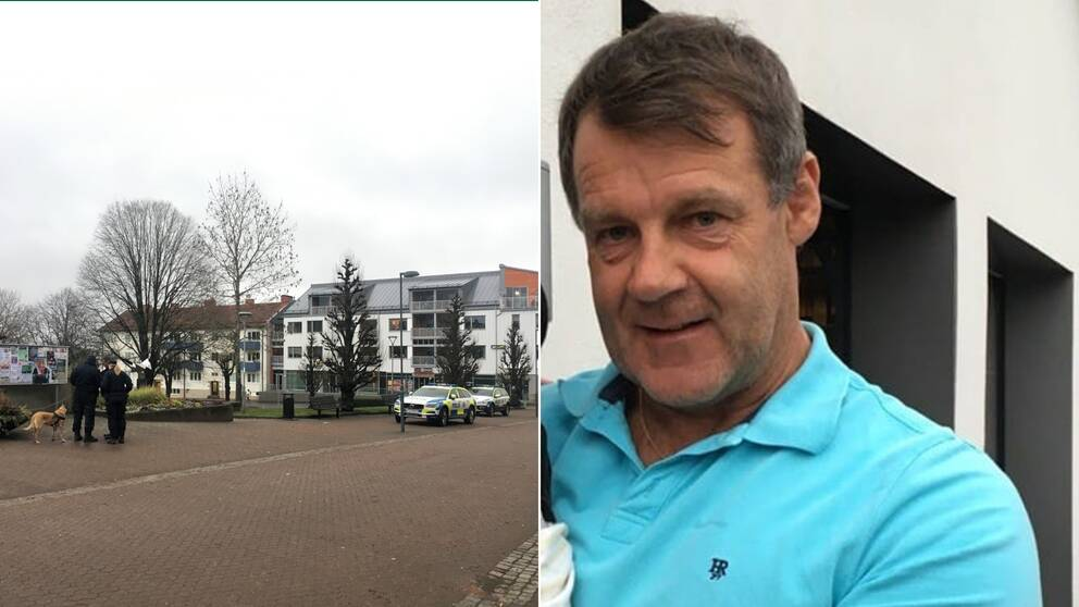 En bild på utredningsplatsen i Gislaved och en bild på Kjäll Gustafsson.