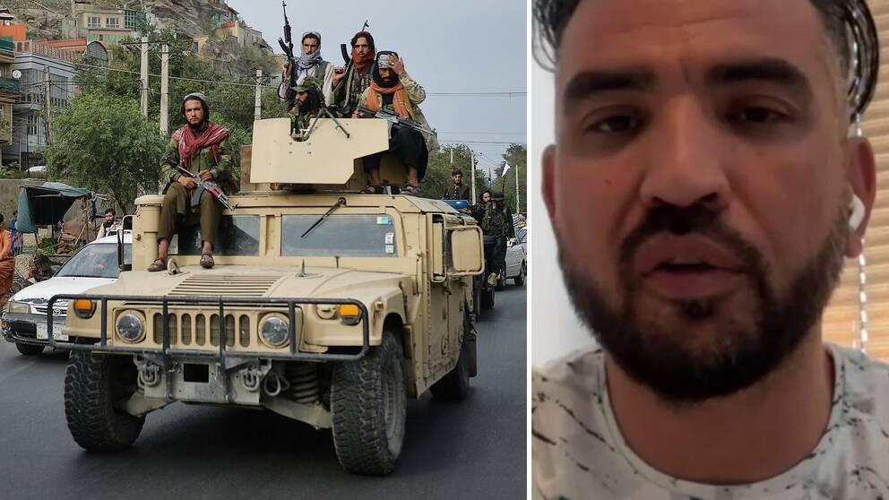 I videon: Svenskafghanen WadudShabaz (t.h) om varför han är säker på att talibanerna aldrig kommer kunna ta över Panjshirdalen. T.h talibaner som firar att USA lämnat landet.