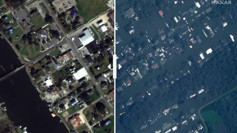 Satellitbilder visar förödelsen efter stormen Ida.
