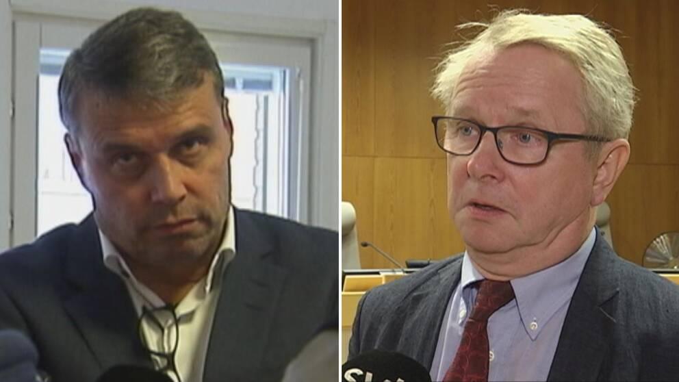 Daniel Kindberg till vänster, hovrättspresident Erik Brattgård till höger.