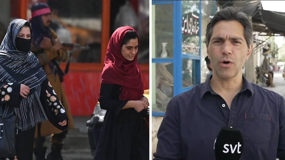 Kvinnor på en gata i Kabul samt SVT:s korrespondent Samir Abu Eid.