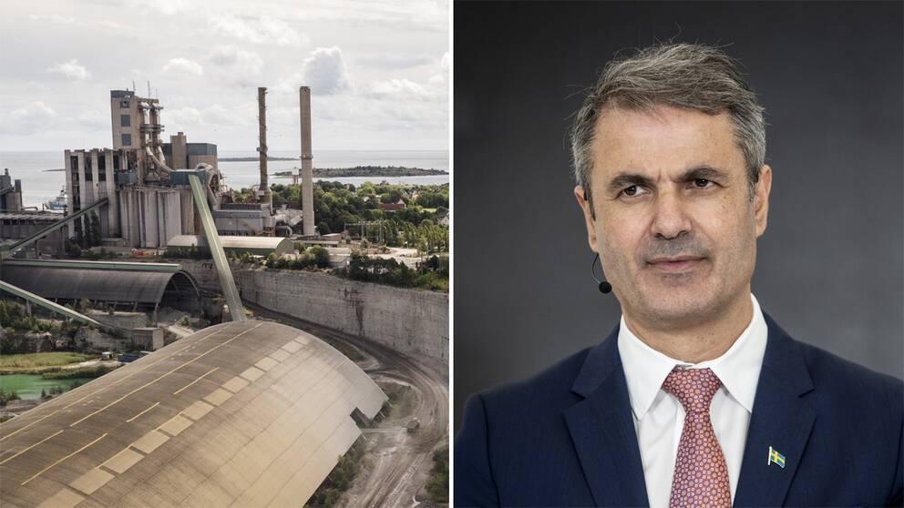 Cementas fabrik i Slite och näringsminister Ibrahim Baylan (S).