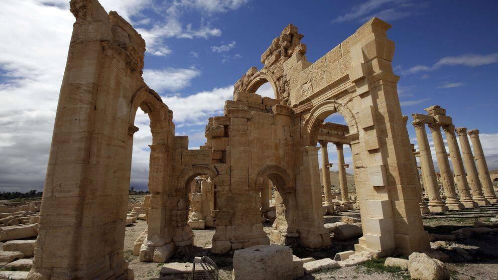 Baalshamir-templet i Palmyra fotograferat i mars förra året.