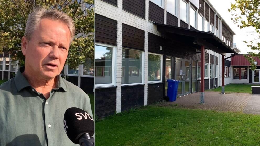 Rektor Rolf Höglund och Centralskolans entré.