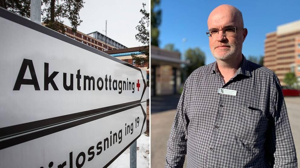 Walentin Lindholm, verksamhetschef vid ambulans- och akutsjukvården framför Gävle sjukhus.
