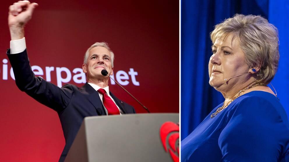 Arbeiderpartiets ledare Jonas Gahr Støre och Høyres Erna Solberg.