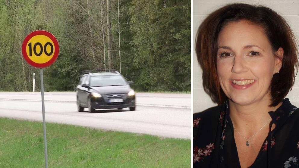 Till vänster syns en bil som kommer körandes på en väg med en hastighetsskylt som visar 100 km/h. Till höger är Helena Werre, hon har bruna ögon och axellångt brunt hår.