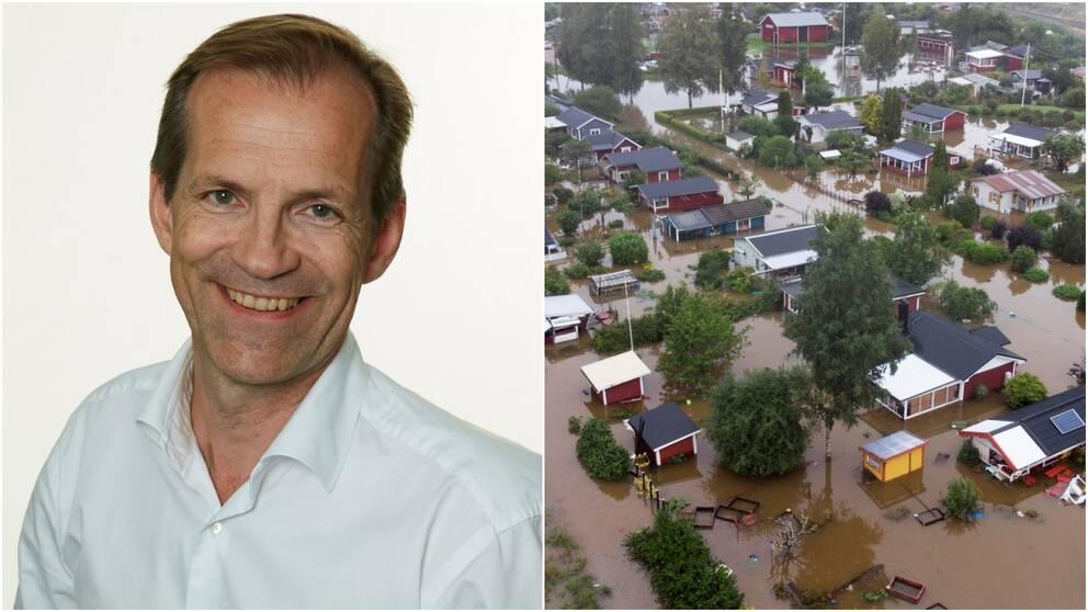 Kollage på en manlig jurist och en bild på översvämningen där villor täcks av regnvattnet