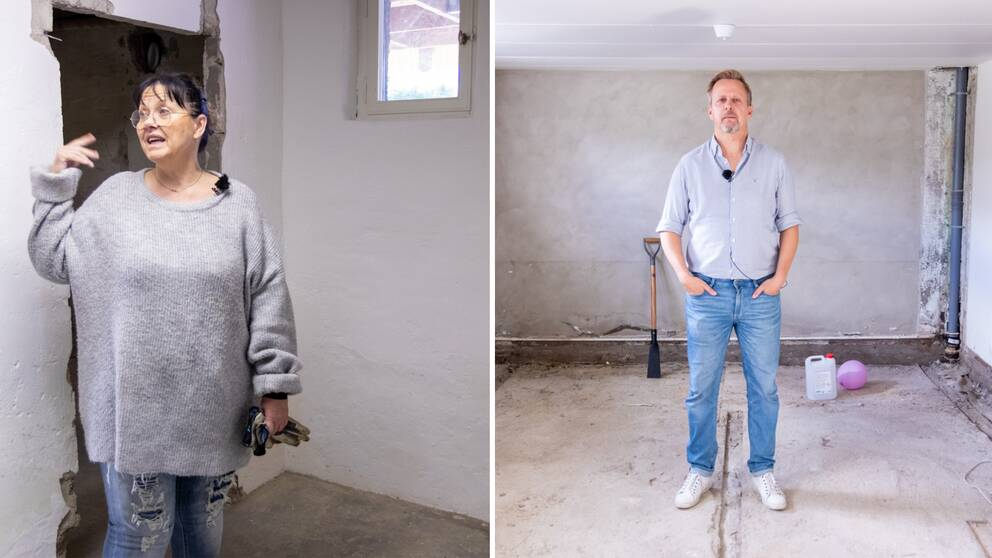 Ett kollage med en man och en kvinna somm både står i sina källare efter översvämningen