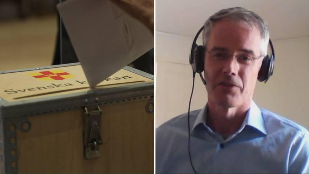 En bild på en röstsedel som ska läggas i lådan och en bild på Marco Nilsson.
