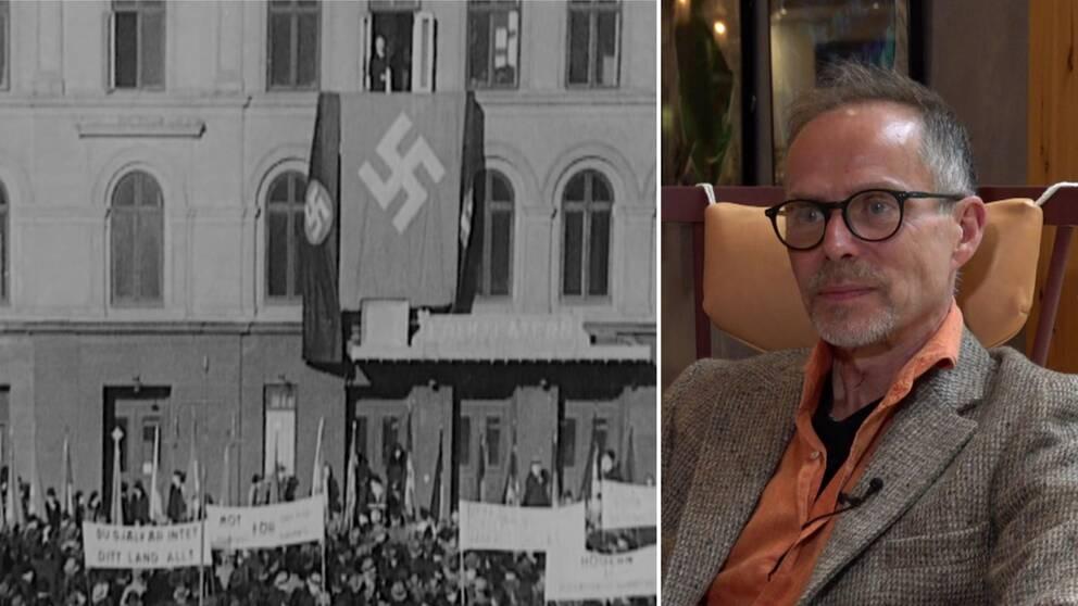 I klippet förklarar Lars Stiernelöf varför han tror att Birger Furugård kommer att förlora sin ställning bland de nya nazisterna .