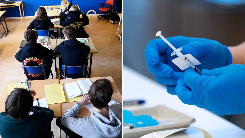Två bilder: Barn i ett klassrum och en sjuksjöterska som håller i en spruta innehållande coronavaccin.