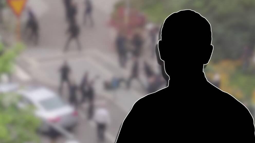 suddig bakgrund och en siluett av en man