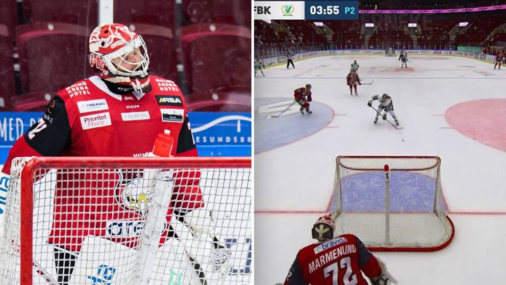 Malmös målvakt Daniel Marmenlind kunde bara titta på när Färjestads Joakim Nygård satte 4-2 i tom kasse.