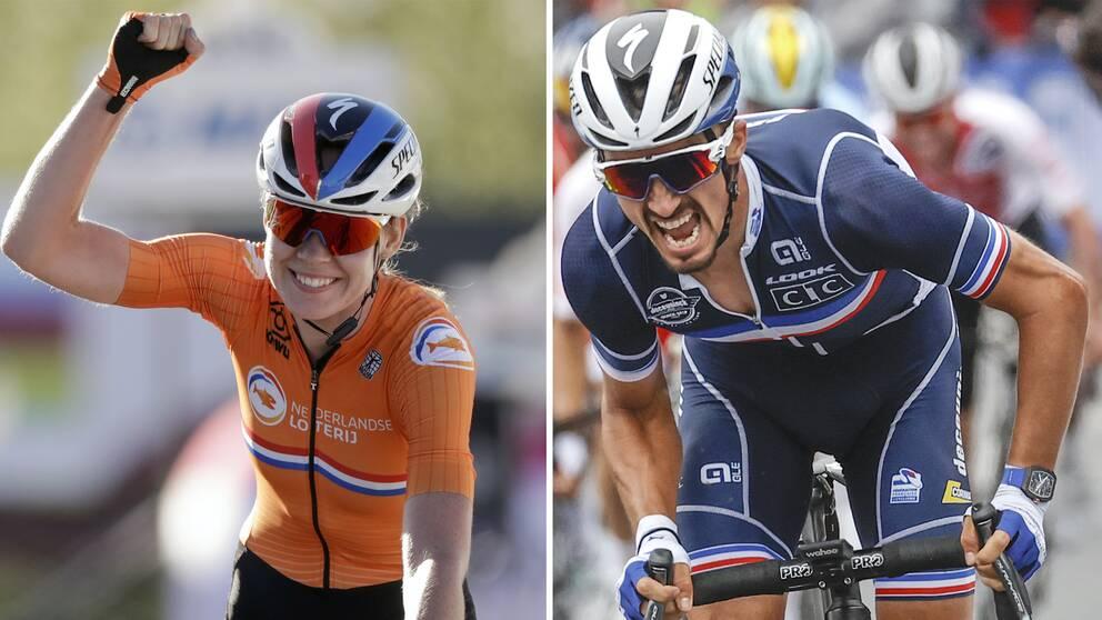 Anna van der Breggen (till vänster) och Julian Alaphilippe (höger) vann guld på cykel-VM i fjol och är två av favoriterna även i år, när mästerskapet avgörs i Flandern. SVT sänder exklusivt.