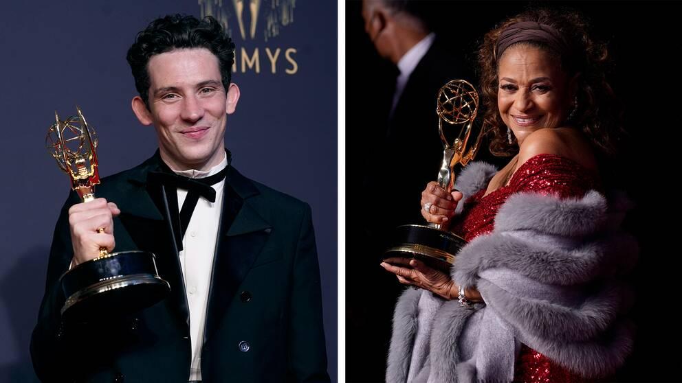 """Josh O'Connor, vinnare av priset för enastående huvudskådespelare i en dramaserie för """"The Crown"""" och Debbie Allen, vinnare av guvernörspriset."""