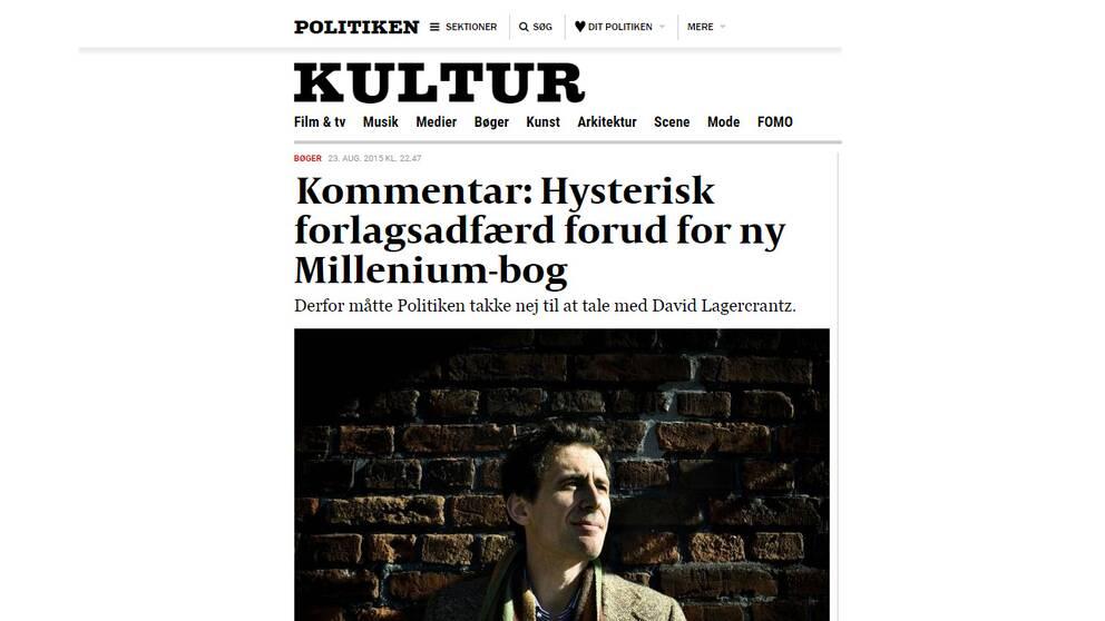 Politikens litteraturredaktör Jes Stein Pedersen förklarar varför tidningen inte vill intervjua Lagercrantz.