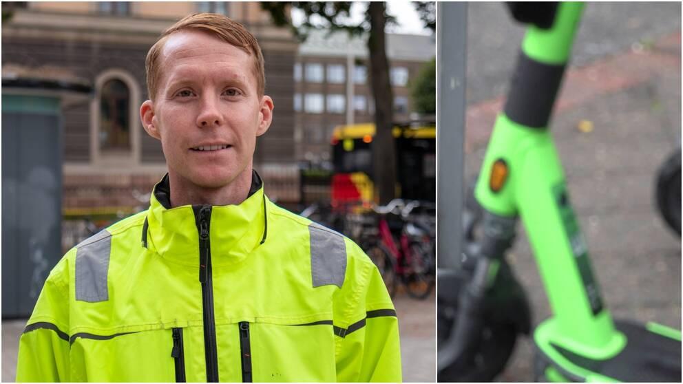 Johan Larsson, enhetschef på Gävle kommun och en bild på en inzoomad elsparkcykel