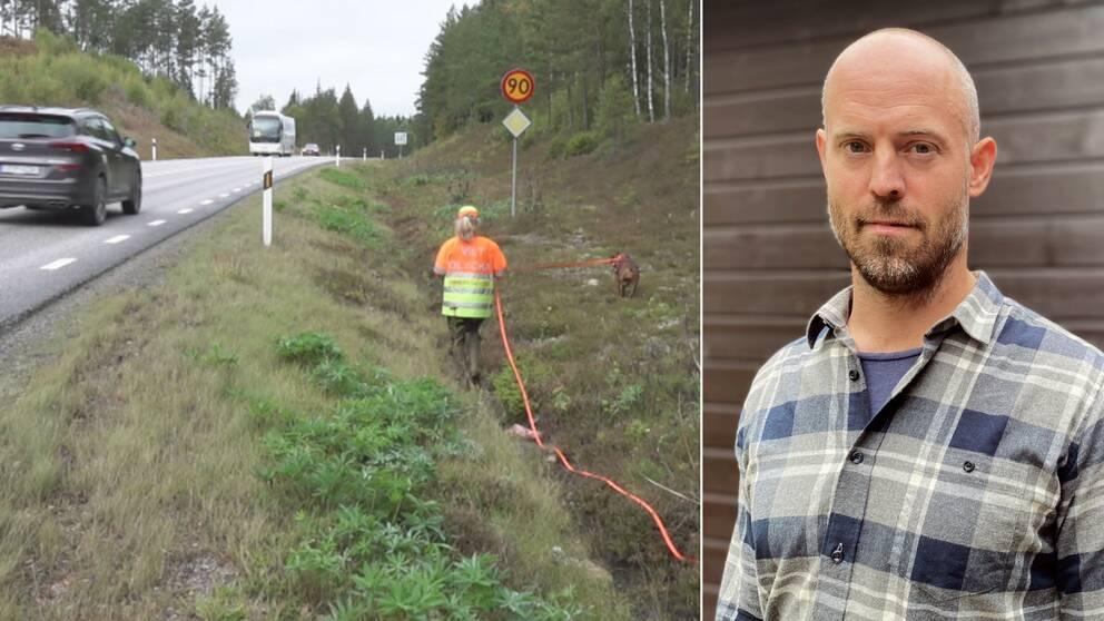 En bild på en jägare med en hund längs med en bilväg och en bild på Emil Ekström som tittar in i kameran.