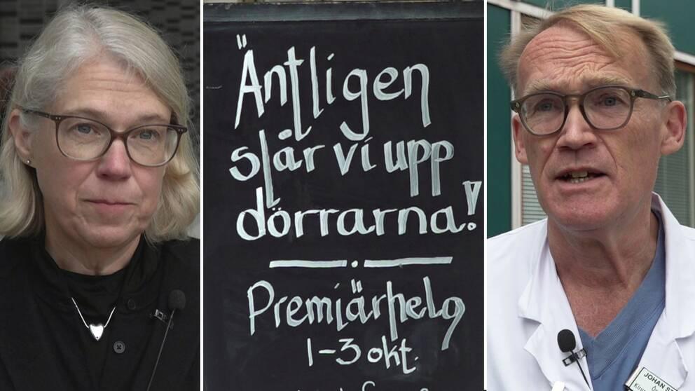 Tredelad bild med smittskydsläkare Maria Rotzén Östlund och Johan Styrud, ordf Stockholms läkarförening, samt en restaurangskylt.