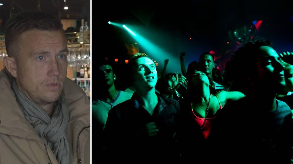 Delad bild. Till vänster en man som blickar ut från bild. Till höger dansande människor upplysta med grönt ljus.
