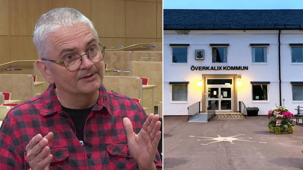 Till vänster: Smittskyddsläkare Anders Nystedt i röd-svartrutig tröja. Till höger finns en exteriör över överkalix kommuns, kommunhus.