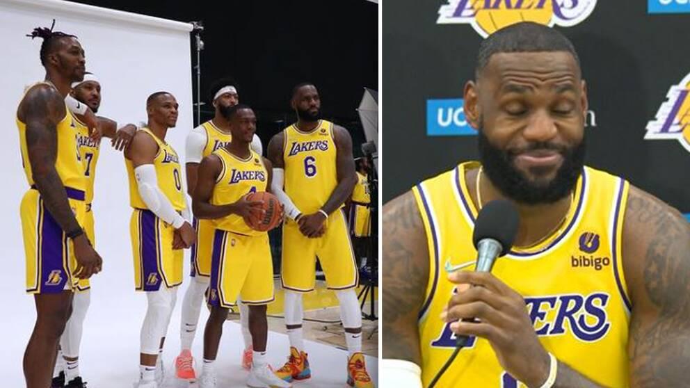 LeBron James och några av lagkamraterna i LA Lakers under mediadagen inför NBA-säsongen.
