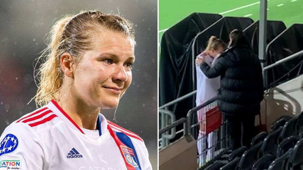 En tårfylld Ada Hegerberg kramades om av Lotta Schelin efter matchen.