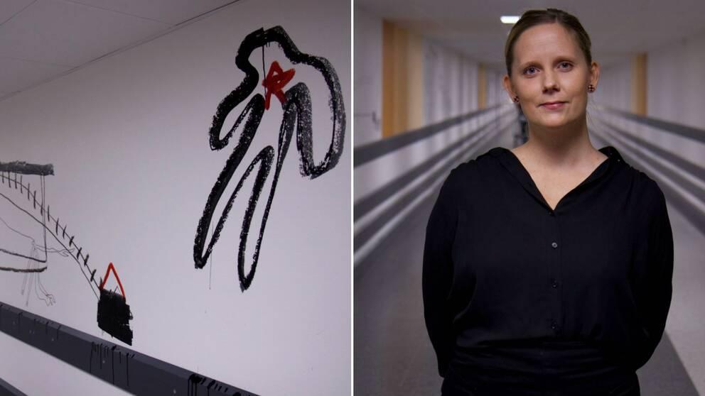 en bild på ett av de konstverk som nu målat på kulverten på Gävle sjukhus och en bild på jenny Nilsson, intendent för offentlig konst, Kultur Gävleborg Region Gävleborg