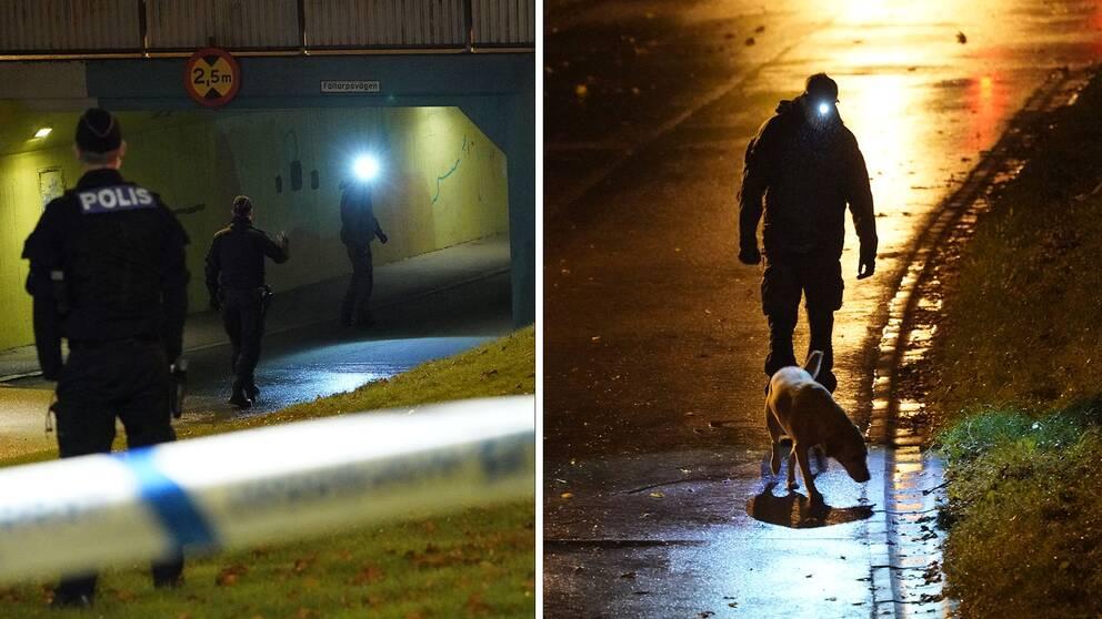 Polis på plats i Närlunda, Helsingborg efter en skottlossning där en man skadats allvarligt.