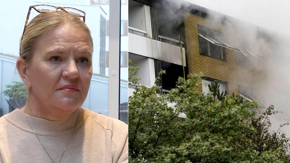 kollage. en blond kvinna. Flerfamiljshus med rök