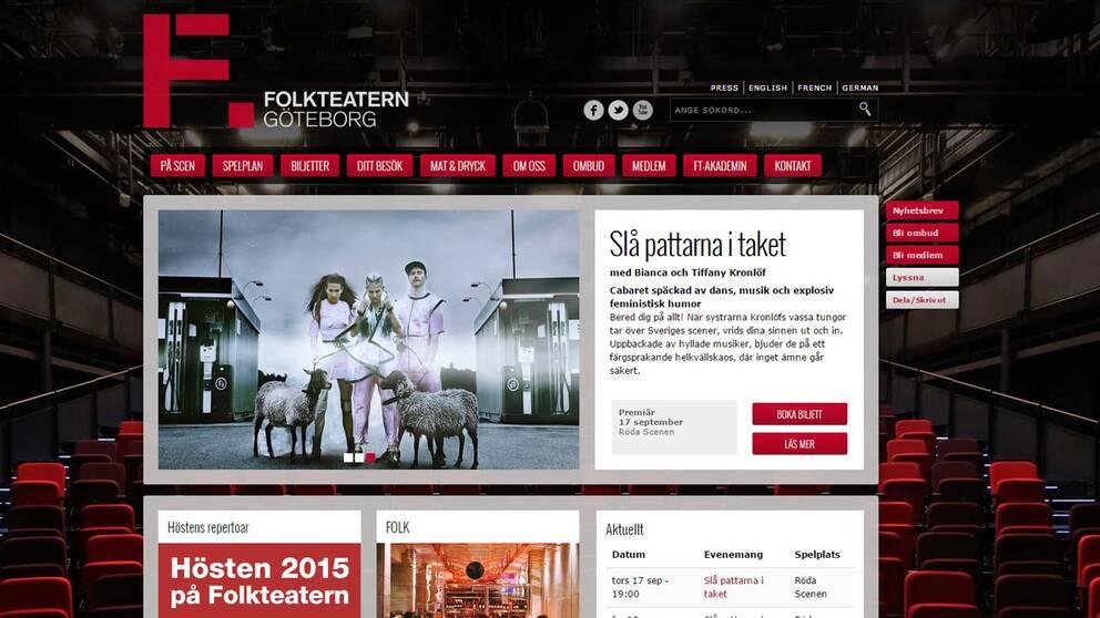 Folkteatern i Göteborgs hemsida är en av de plattformar som kritiserar i undersökningen.