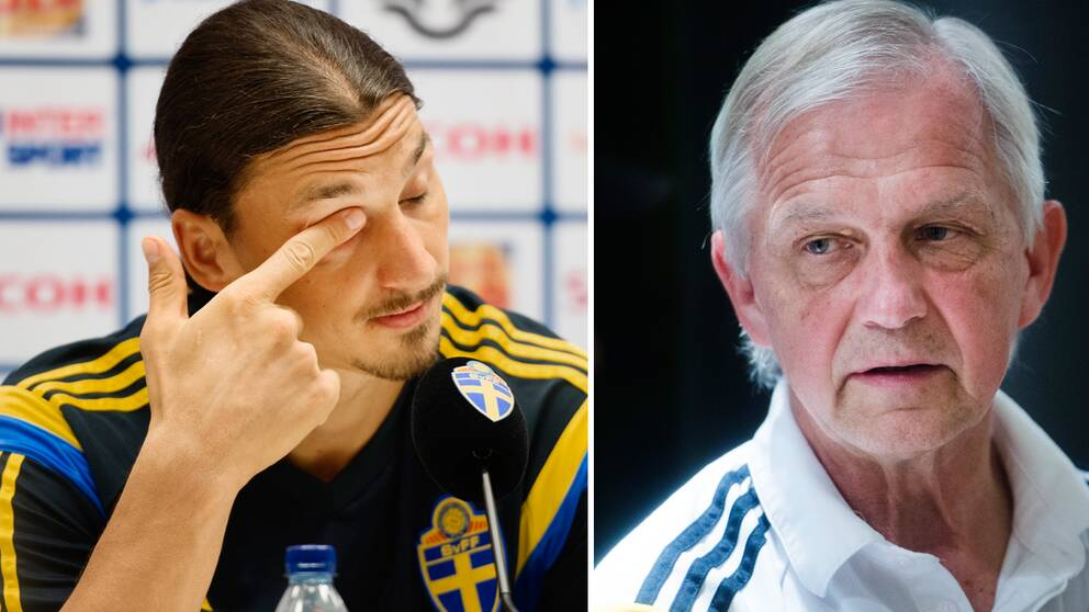 Collage: Zlatan Ibrahimovic och landslagschefen Lars Richt.