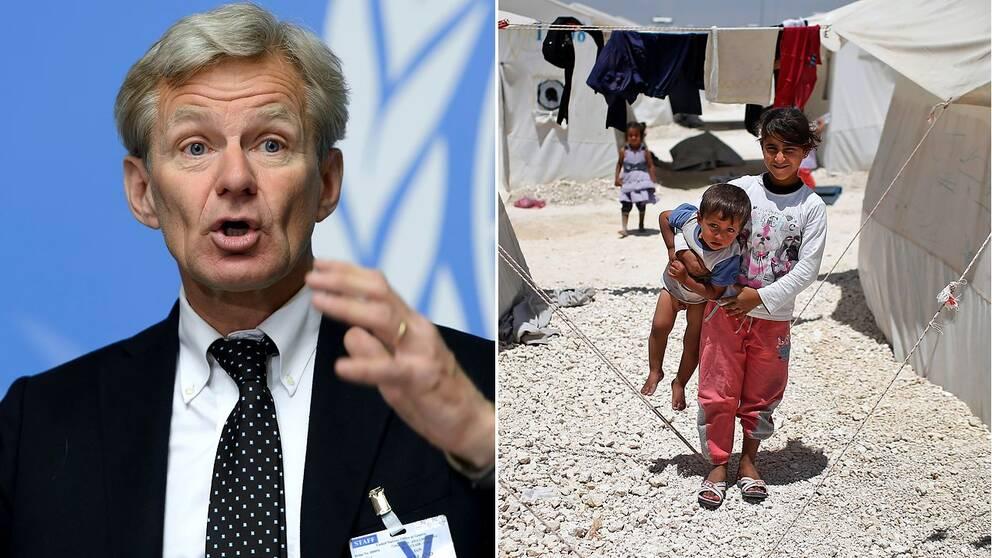 Jan Egeland och syriska flyktingbarn i ett flyktingläger på den turk-syriska gränsen.