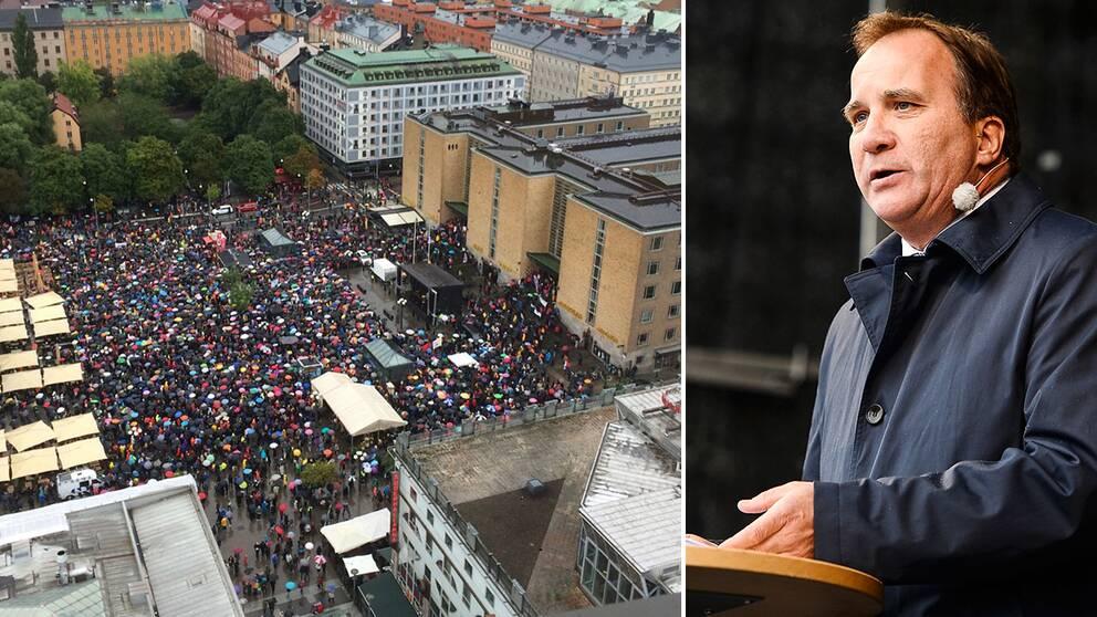 Stefan Löfven talade inför tusentals på Medborgarplatsen i Stockholm.
