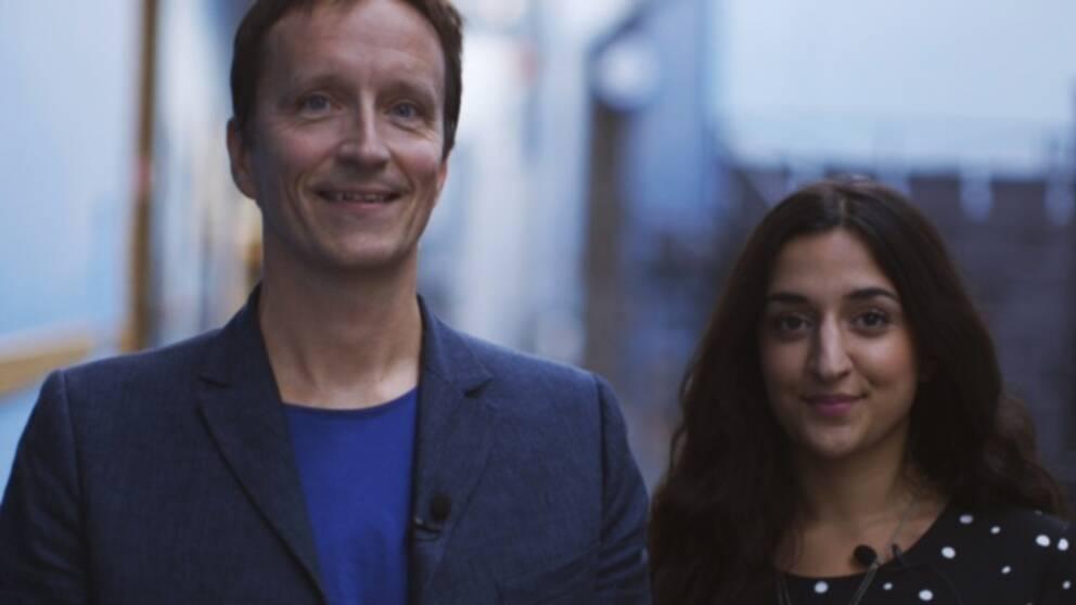 Fredrik Sahlin tillsammans med Parisa Amiri som tillsammans med Karolina Fjellborg kommer leda SVT:s sändning av Emmygalan 20 september.