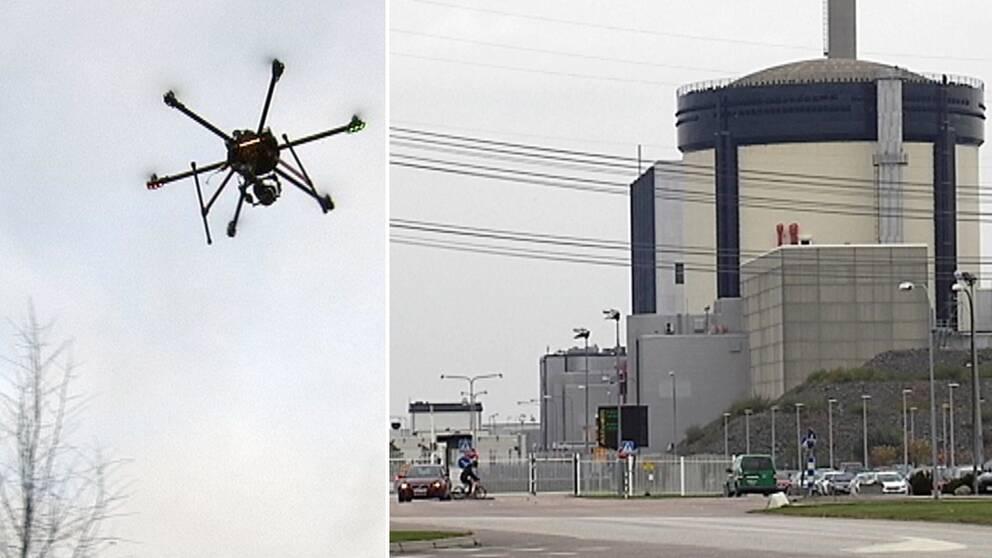 Drönare, en fjärrstyrd flygfarkost och kärnkraftverket Ringhals i Halland.