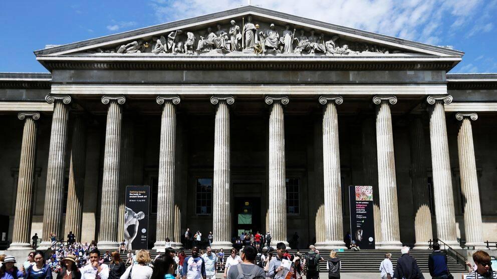 British Museum i Bloomsbury, London, där demonstranter i söndags trängde sig in för att protestera mot museets samarbetet med oljebolaget BP.