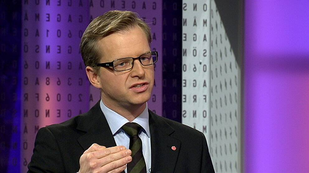 Mikael Damberg, Socialdemokraternas gruppledare, i Agenda. Foto: SVT
