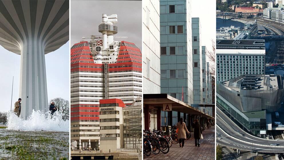 Svampen i Örebro, Läppstiftet i Göteborg, Stockholms universitet och Stockholm Waterfront. Kan en byggnad vara ful?