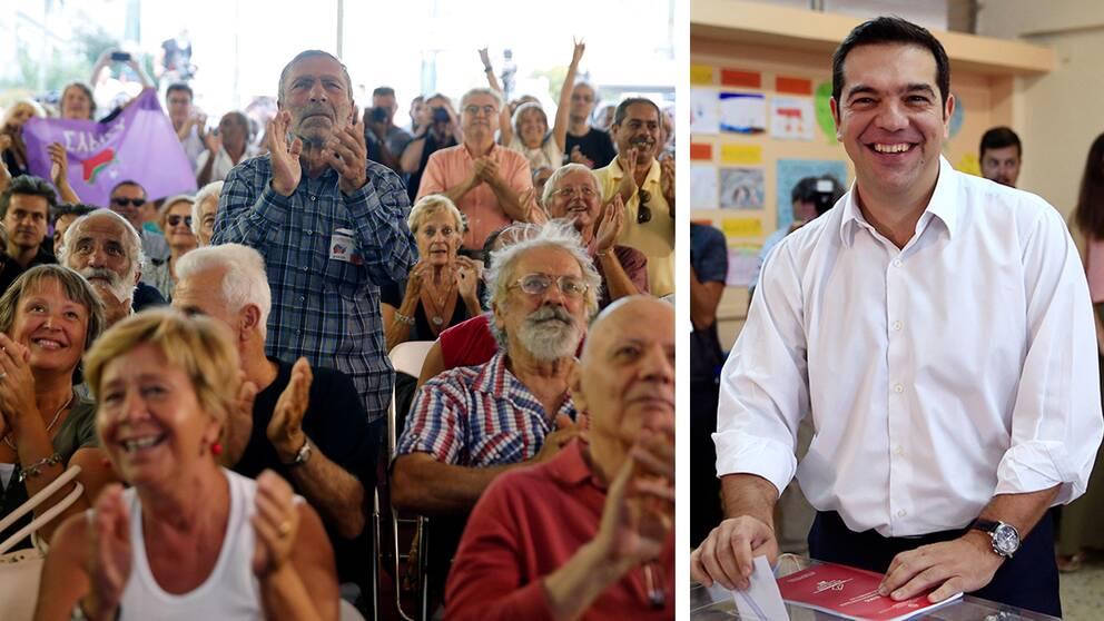 Jubel bröt ut bland hundratals Syriza-anhängare utanför partiets högkvarter när det stod klart att vänsterpartiet och partiledaren Alexis Tsipras fått 35 procent av rösterna och vunnit det grekiska nyvalet.