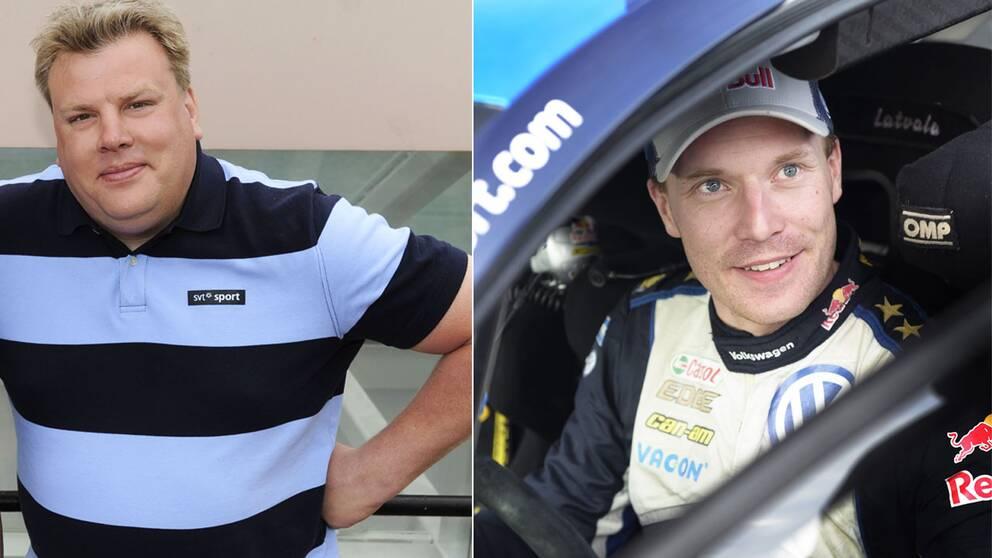 SVT Sports motorexpert Jonas Kruse (till vänster) och finska VM-stjärnan Jari-Matti Latvala (till höger).
