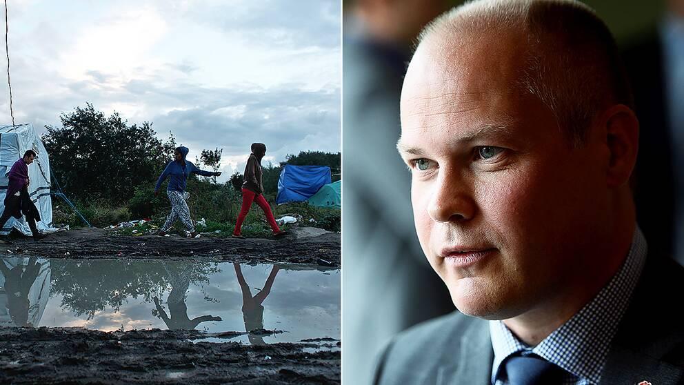 Flyktingar i ett läger i Calais, Frankrike/Migrationsminister Morgan Johansson